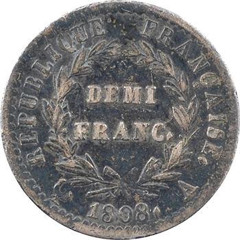 Premier Empire, demi-franc République, buste fin, 1808 Paris