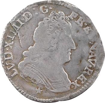 Louis XIV, vingtième d'écu aux trois couronnes, 1710 Montpellier