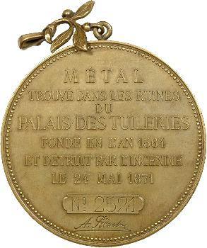 IIIe République, métal du Palais des Tuileries, souvenir par J. France, c.1883