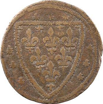 Moyen-Âge, Jeanne de France ou Jeanne d'Évreux, jeton de compte aux écus, s.d. (1318-1328 ou avant 1371)