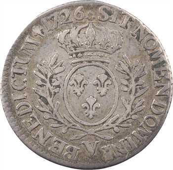Louis XV, cinquième d'écu aux rameaux d'olivier, 1726 Troyes