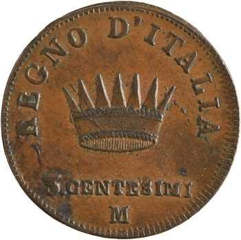 Italie, Napoléon Ier, 3 centesimi 1er type, 1810 Milan