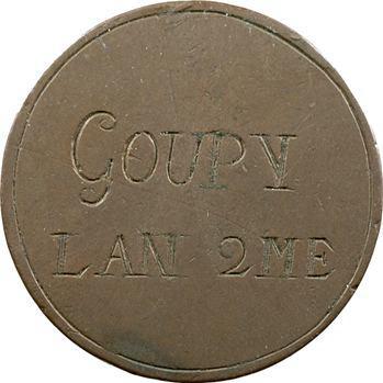Convention, jeton d'écrivain, Goupy, sur Monneron de deux sols, l'An 2