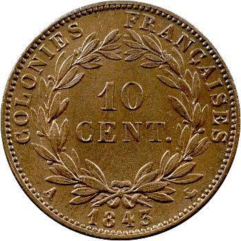 Louis-Philippe, 10 centimes des colonies françaises, 1843 Paris