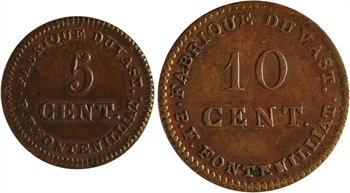 Louis XVIII, lot de 10 et 5 centimes uniface, Fabrique du Vast (Manche), les 2