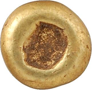 Sénons, quart de statère globulaire (sans le segment), classe V, Ier s. av. J.-C