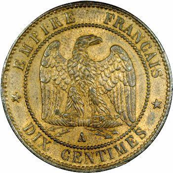 Second Empire, dix centimes tête laurée, 1863 Paris