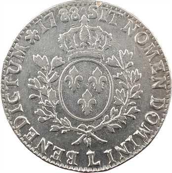Louis XVI, écu aux branches d'olivier, 1788 Bayonne
