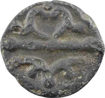 Bituriges/Centre-ouest, potin aux chevaux affrontés et ramure de cerf, c.60-50 av. J.-C