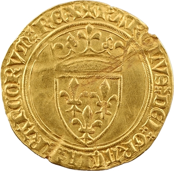 Charles VI, écu d'or à la couronne, 3e émission, Troyes