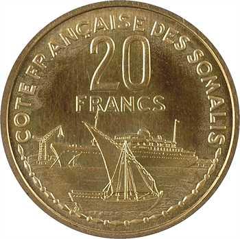 Côte française des Somalis, essai-piéfort de 20 francs, 1952 Paris
