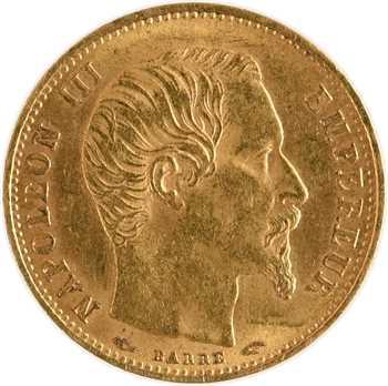 Second Empire, 5 francs tête nue, petit module, 1854 Paris, tranche lisse