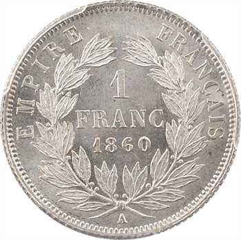 Second Empire, 1 franc tête nue, 1860 Paris, PCGS MS65