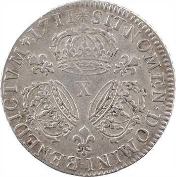 Louis XIV, quart d'écu aux trois couronnes, 1711 Amiens