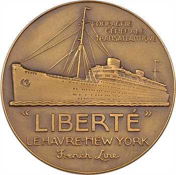 Compagnie Générale Transatlantique : le paquebot Liberté, par Jean Vernon, dans sa boîte, s.d. (1950) Paris