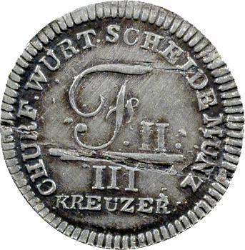Allemagne, Wurtemberg (royaume de), Frédéric II, 3 kreuzer, 1805