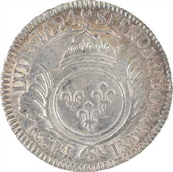Louis XIV, demi-écu aux palmes, 1694 Reims