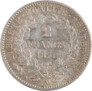 IIIe République, 2 francs Cérès, 1871 Paris (grand A)
