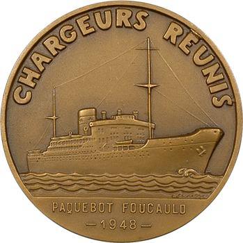 IVe République, Compagnie Maritime des Chargeurs Réunis, le paquebot Foucauld, par Fraisse, 1948 Paris