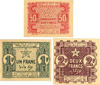 Maroc, lot de 3 billets, 50 c , 1 et 2 francs, c.1944