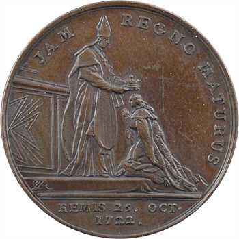 Louis XV, sacre à Reims le 25 octobre 1722, par J.-C. Roëttiers, cuivre, 1722 [XVIIIe s.] Paris