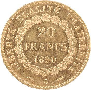 IIIe République, 20 francs Génie, 1890 Paris