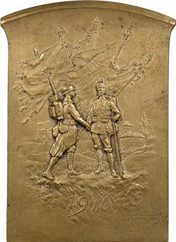 Roumanie, la Fraternité d'armes Franco-Roumaine, mission Berthelot, plaque uniface, 1916
