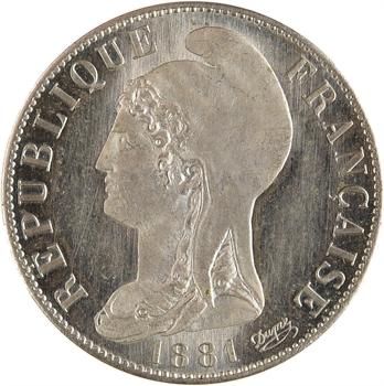 IIIe République, essai de 25 centimes Dupré rond, 1881 Paris PROOF