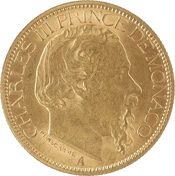 Monaco, Charles III, cent francs or, 1884 Paris