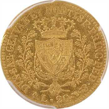 Italie, Savoie-Sardaigne, Charles-Félix, 20 lire, 1821 Gênes PCGS AU53