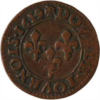 Louis XIII, double tournois 2e type, 1619 Poitiers