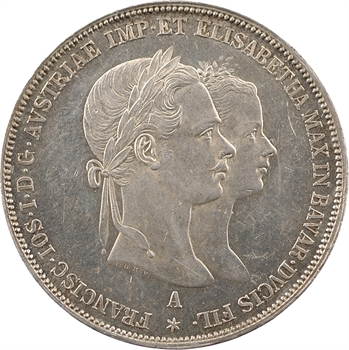 Autriche, François-Joseph Ier, 2 florins de mariage, 1854 Vienne