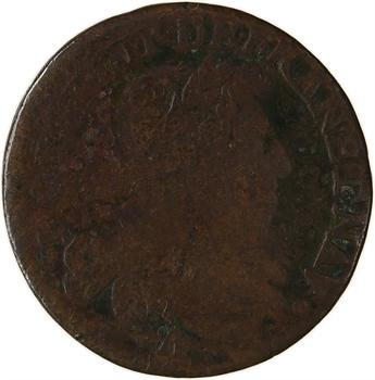 Louis XIII, double tournois 7e type, 1629 Paris