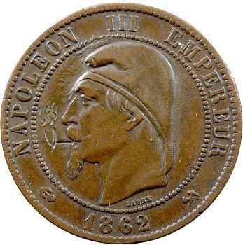 Guerre de 1870, Napoléon III, monnaie satirique de 10 centimes au bonnet phrygie