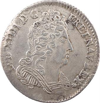 Louis XIV, dixième d'écu aux trois couronnes, 1711/0 Troyes
