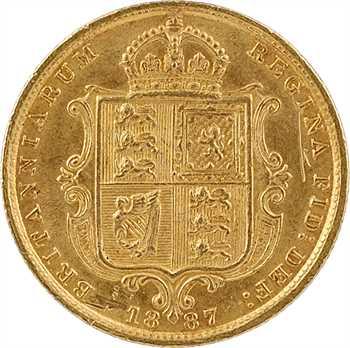 Royaume-Uni, Victoria, demi-souverain, 1887 Londres