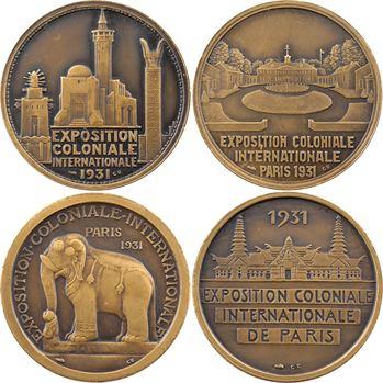 Exposition coloniale de Paris 1931, série des 4 médailles des continents sur présentoir