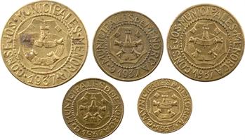 Espagne, Minorque (Baléares), série des 5 valeurs, de 5 centimos à 2,5 pesetas, 1937