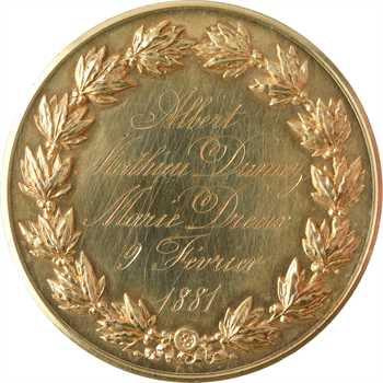 IIIe République, médaille de mariage à double revers, dans sa boîte, 1881 Paris
