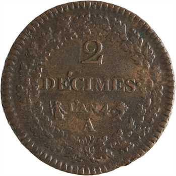 Directoire, 2 décimes Dupré, An 4 Paris