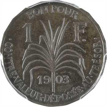 Guadeloupe, essai de 1 franc en argent, 20 pans, 1903 Paris, PCGS SP64