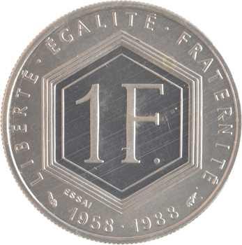 Ve République, essai de 1 franc de Gaulle, 1988 Pessac