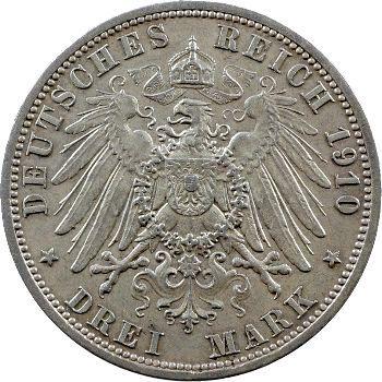 Allemagne, Hesse-Darmstadt (Grand-duché de), Ernest-Louis, 3 mark, 1910 Berlin