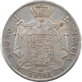 Italie, Napoléon Ier, 5 lire, tranche en creux, 1811 Milan
