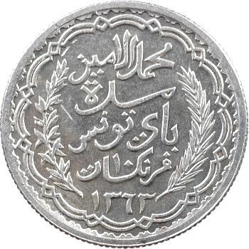 Tunisie (Protectorat français), Mohamed Lamine, 10 francs, 1943 Paris