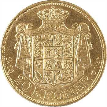 Danemark, Christian X, 20 kroner ou couronnes, 1914 Copenhague