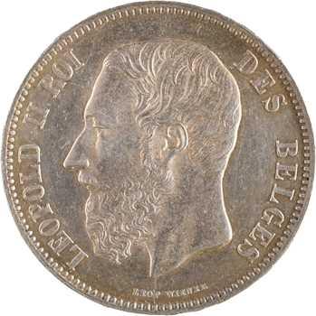 Belgique, Léopold II, 5 francs, 1873 Bruxelles