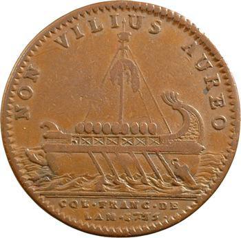Amérique, Canada, Louis XV, jeton au vaisseau des Argonautes par F. Marteau, 1755 Paris