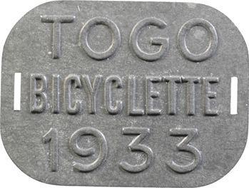 Togo, plaque de taxe de bicyclette, 1933