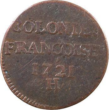 Louis XV, 9 deniers des colonies américaines, 1721 La Rochelle